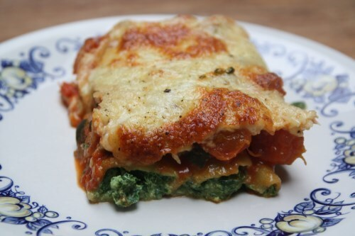 Cannelloni met spinazie, ricotta, courgette en kerstomaatjes