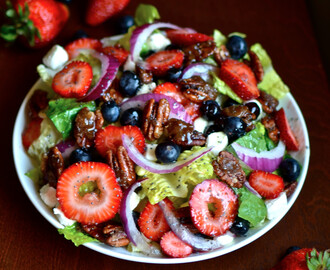 Candied Pecan Berry Salad with Cream Cheese and Poppy Seed Dressing