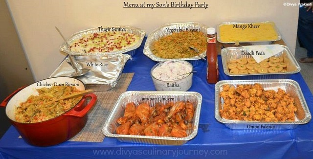 My Son's Birthday Party Menu- Indian Party Menu Ideas