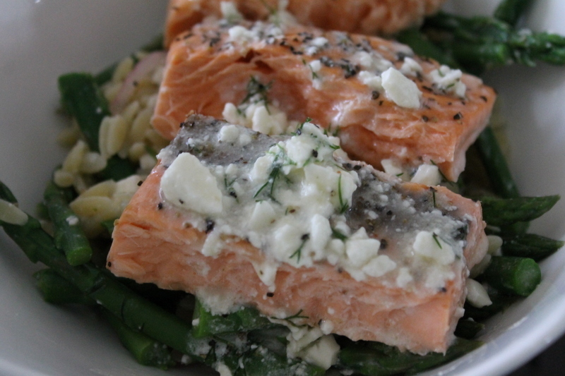 Salmon, Asparagus and Orzo Salad with Lemon Dill Vinaigrette