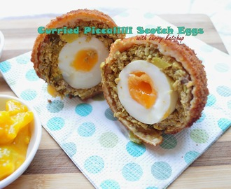 Curried Piccalilli Scotch Eggs with Curry Ketchup