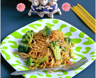 Asian Peanut noodles with Broccoli