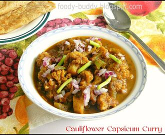 Cauliflower Capsicum Curry / Gobi Shimla Mirch Ki Subzi