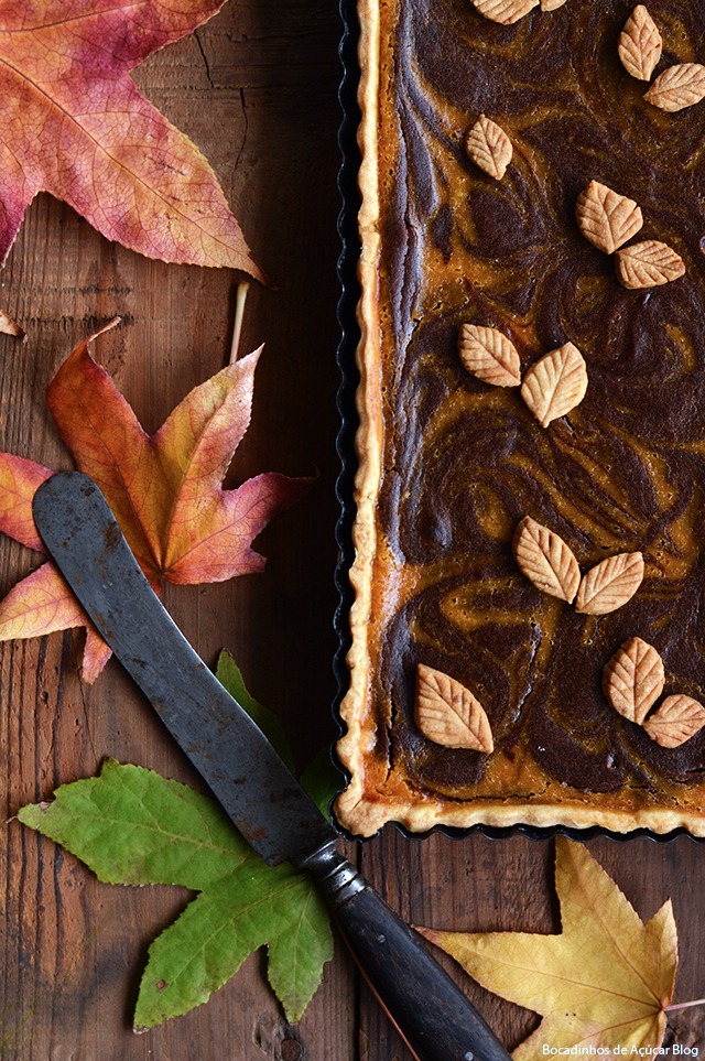 Tarte de Abóbora e Chocolate/ Pumpkin and Chocolate Marbled Tart