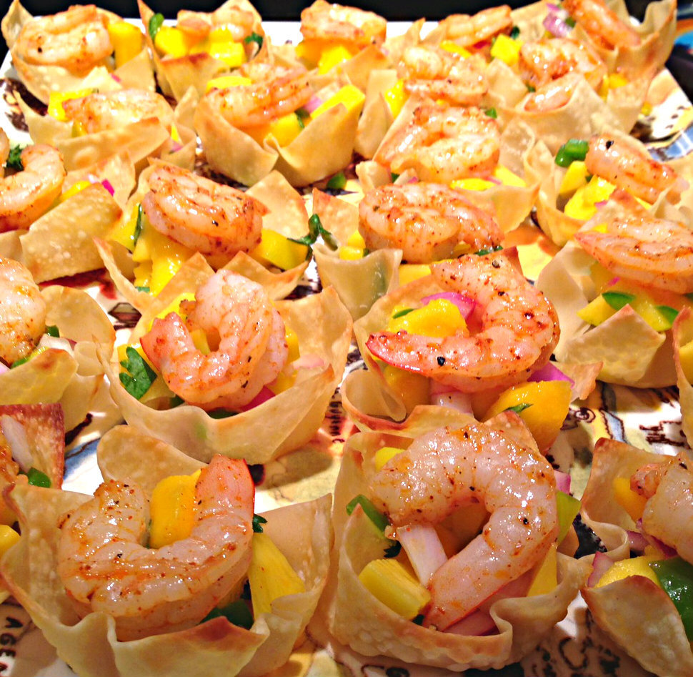 Chile Lime Shrimp Cups with Mango Salsa