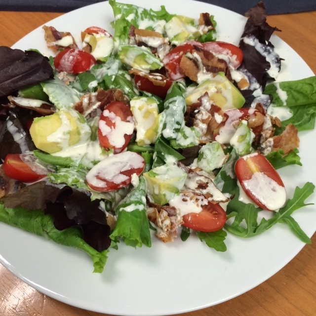 Pancetta salad with blue cheese dressing