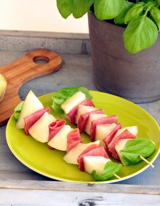 Turkey Bacon and Melon Skewers