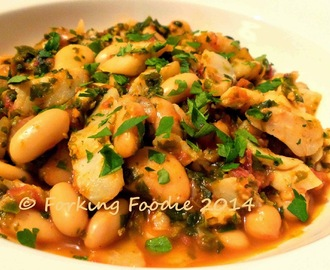 Salt Cod Stew, with Chickpeas, Spinach and White Beans