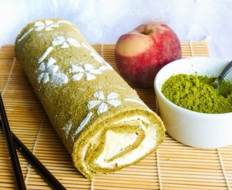 Great British Bake Along: Matcha Green Tea and Peach Swiss Roll
