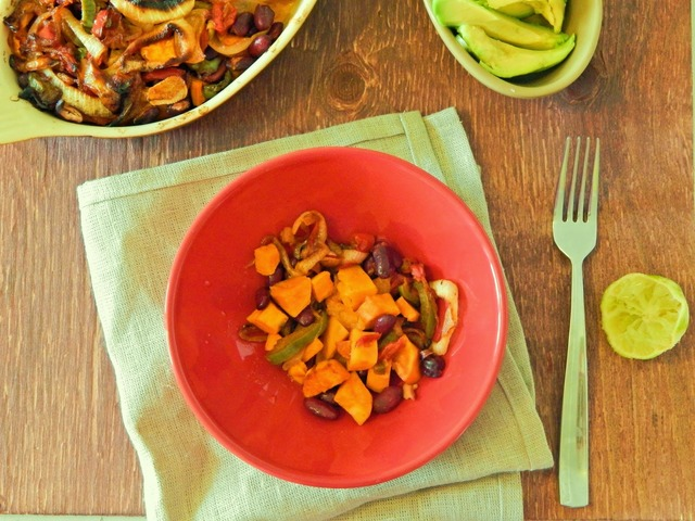 Sweet Potato and Red Bean Hash with smokey peppers and red onions