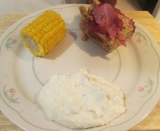 Bacon Wrapped Turkey Meatloaf w/ Corn on the Cob and Mashed Poatoes