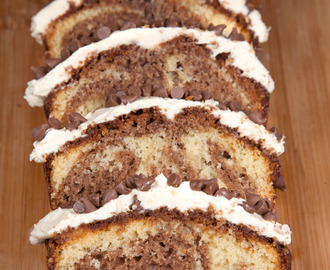 Chocolate marble loaf with salted caramel cream cheese frosting (recipe)