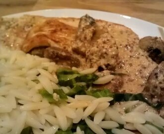 Turkey steaks with Mushroom and Mustard sauce