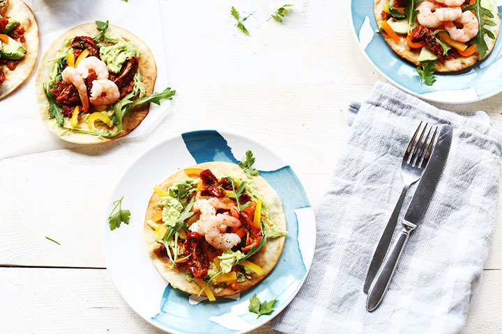 Avocado shrimp tostadas