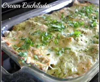 Chicken Avocado Cream Enchiladas
