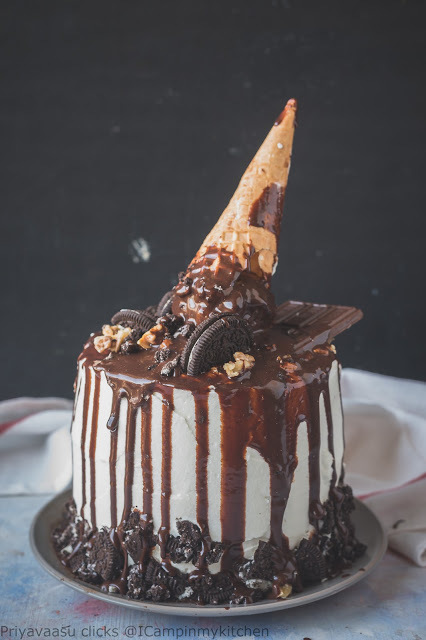 Eggless Whole Wheat Chocolate Carrot cake - Ice cream Cone Cake