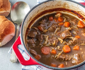 Beef Braised in Beer with Onions and Carrots