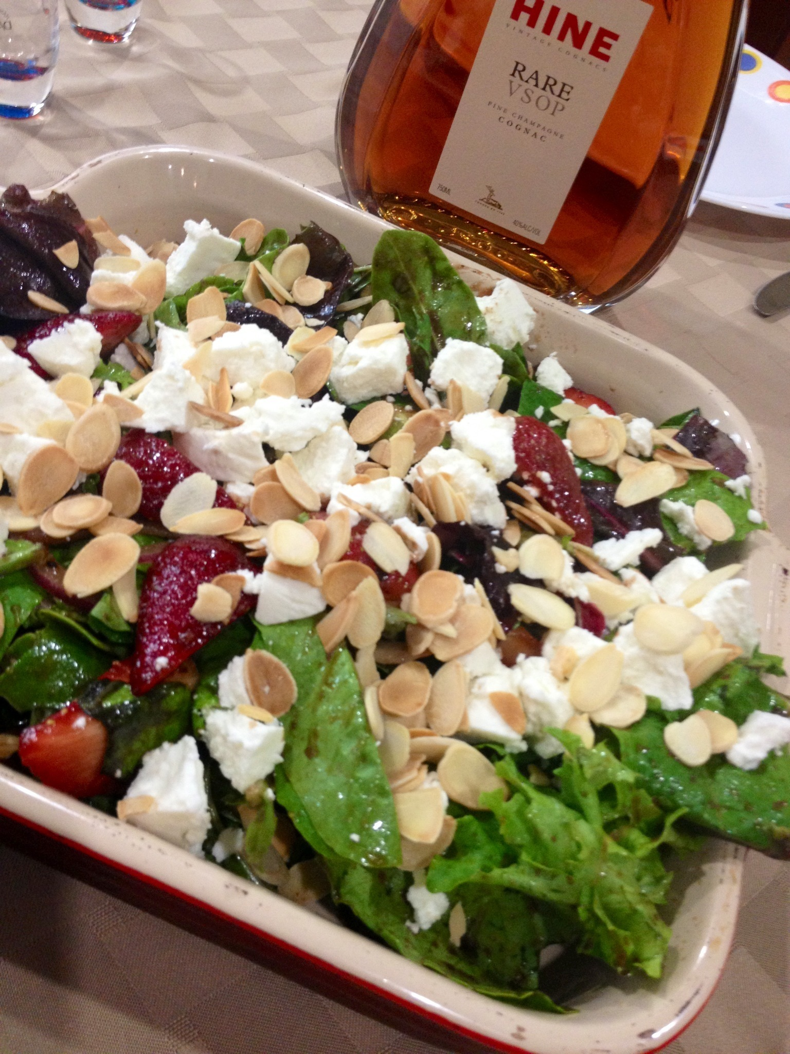 Sweet and Savory: Salad with Strawberries, Goat Cheese and Toasted Almond