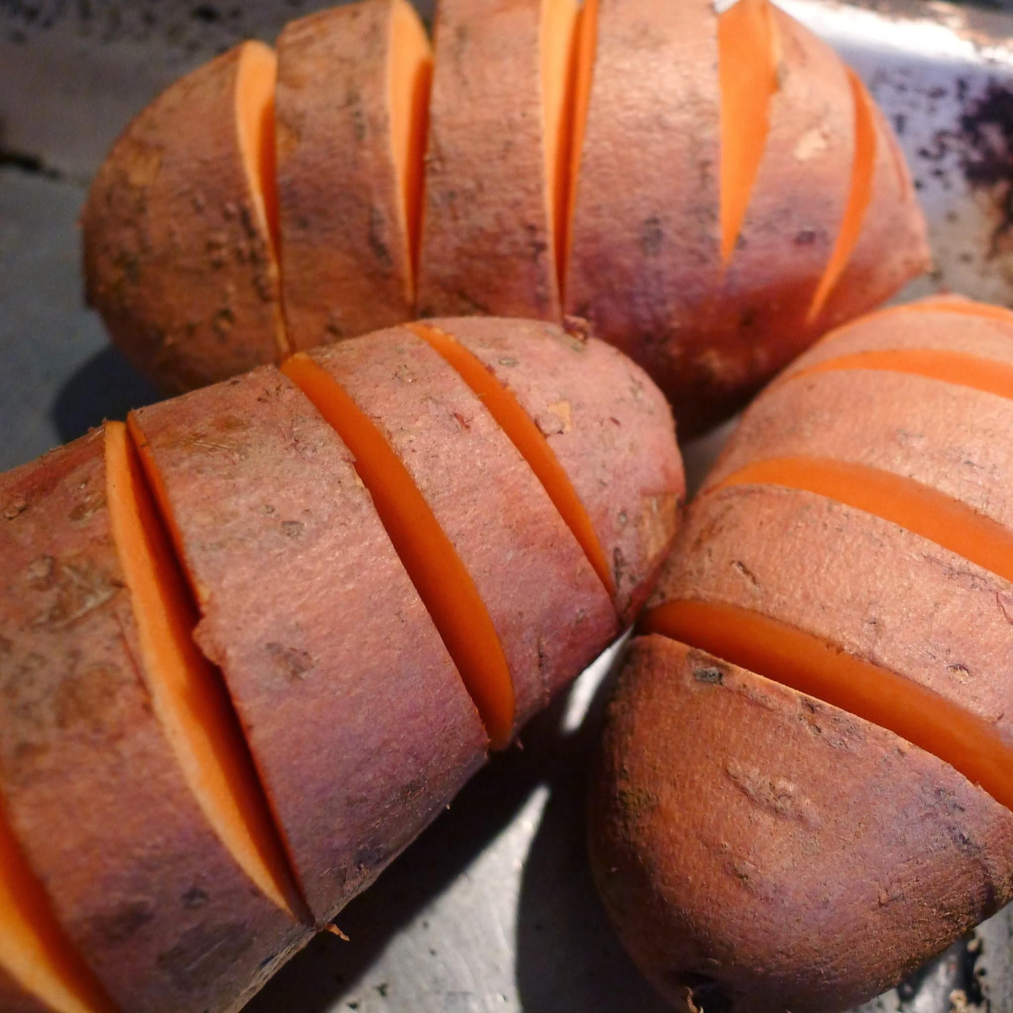 Spicy hasselback sweet potatoes