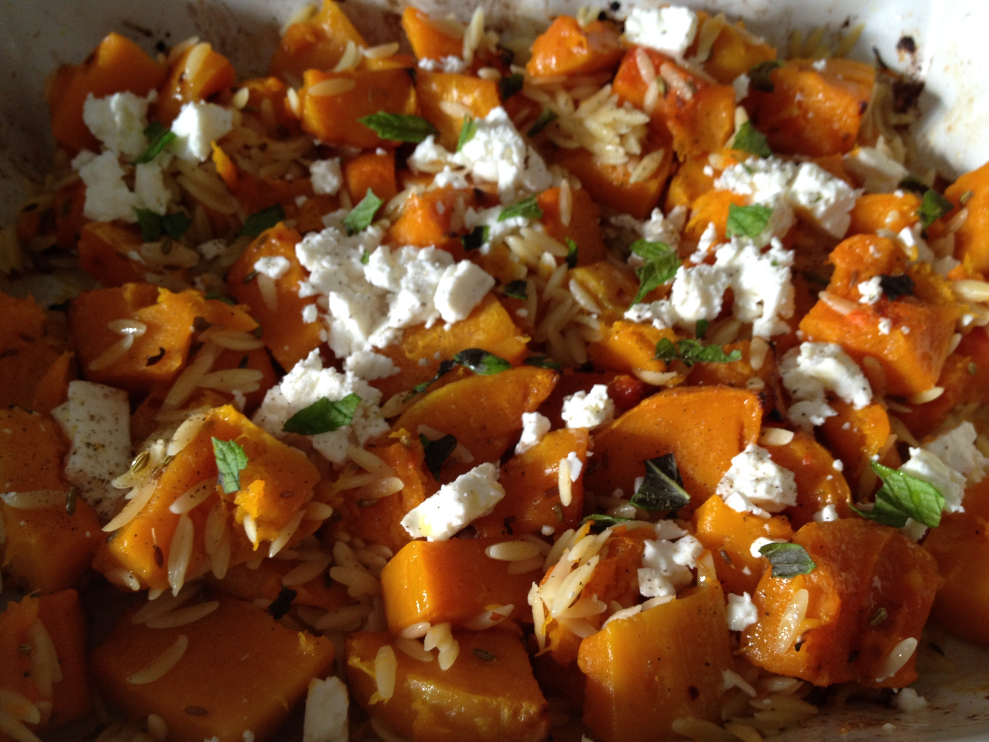 Roasted butternut squash with orzo and feta