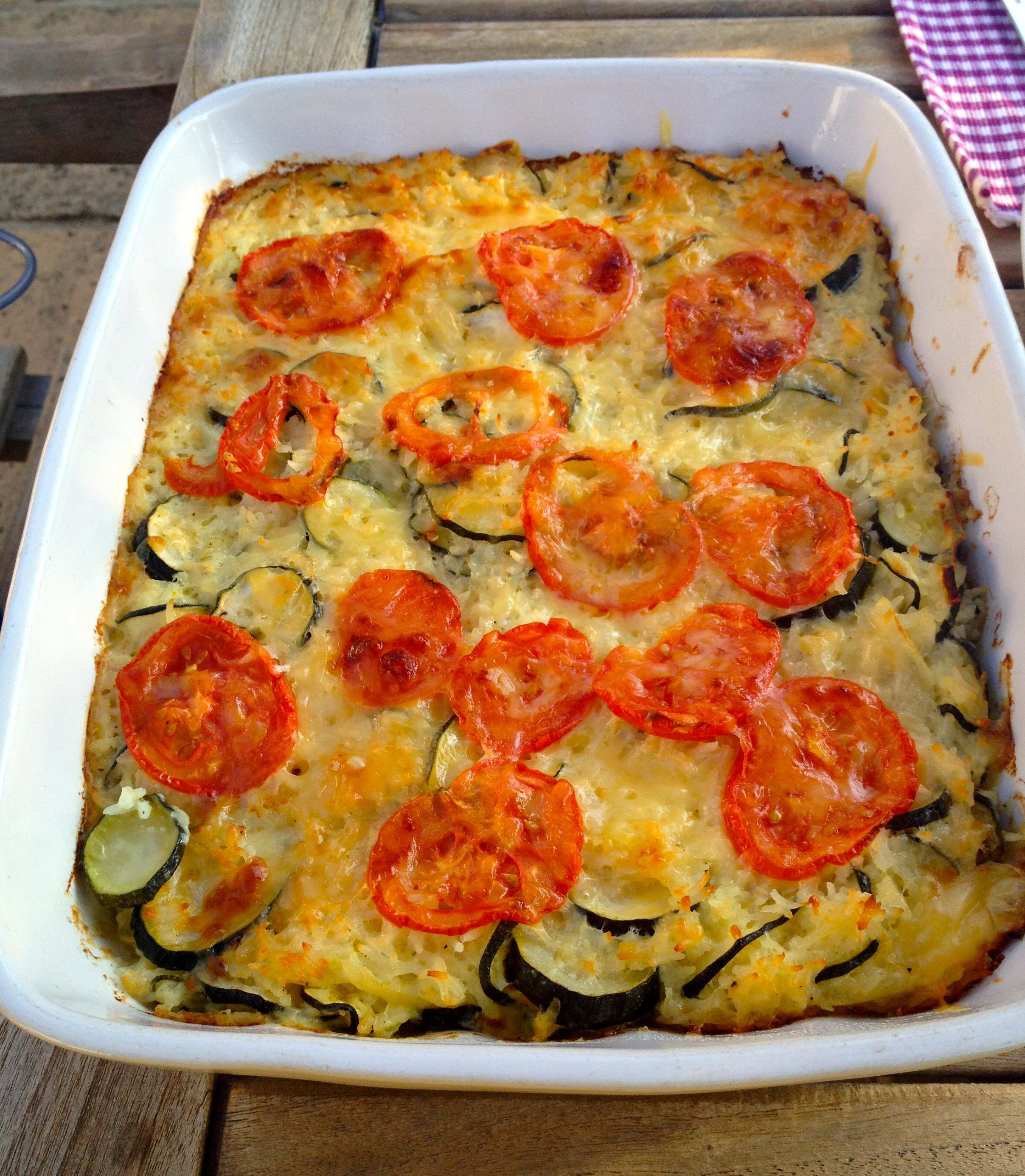 Easy eating – Courgette & Emmental Bake with Rosemary & Garlic Roast Lamb