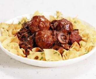 Veal and Pork Meatballs with Mushroom Gravy and Egg Noodles