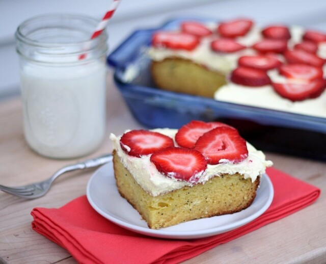 Lemon Poppy Seed Pudding Cake with Strawberry Topping