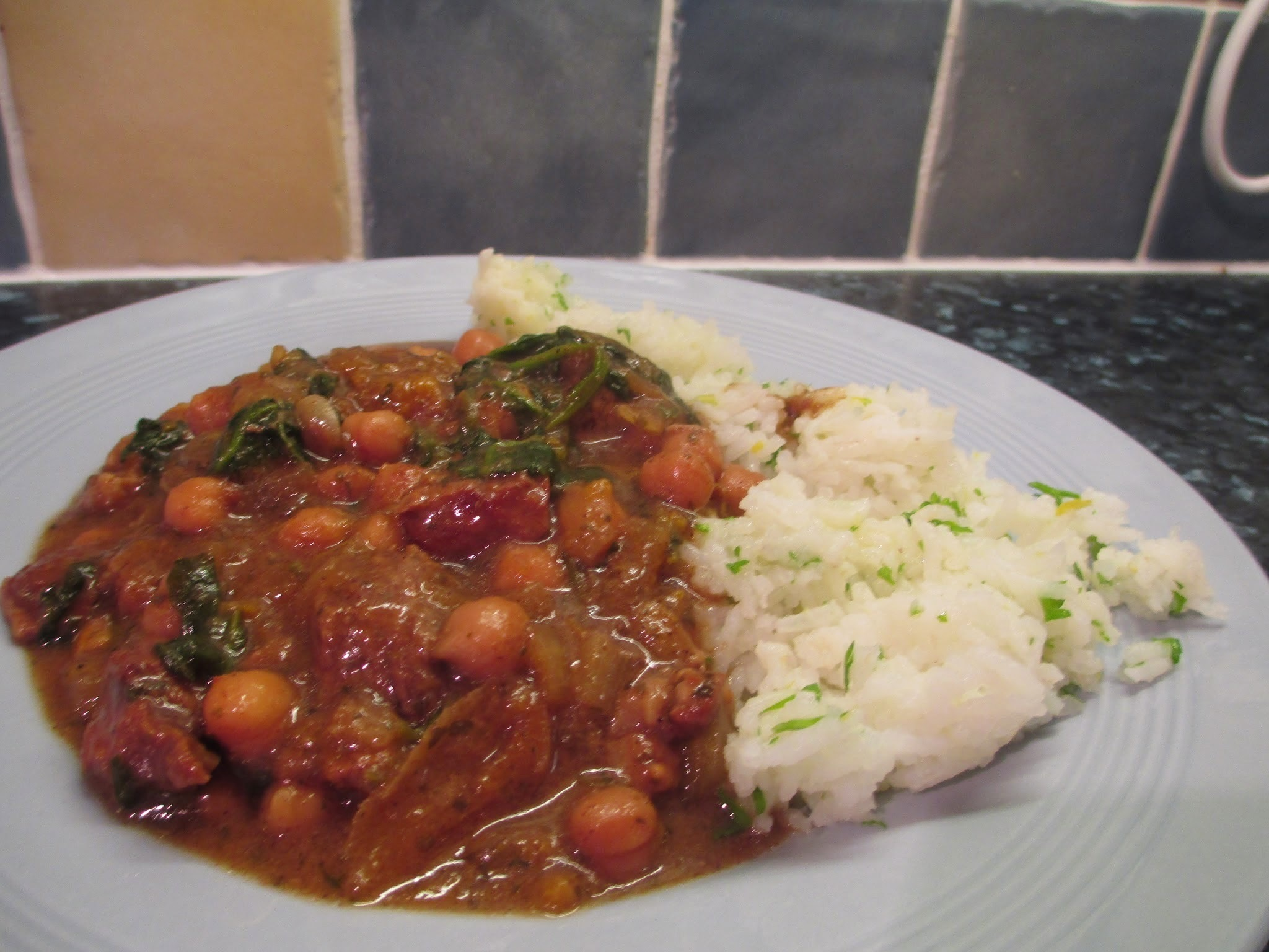 Slow cooker lamb tagine with chick peas.