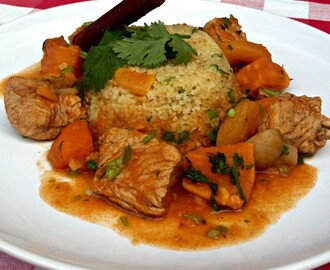 Moroccan Turkey Stew Recipe Served with Bulgur Wheat