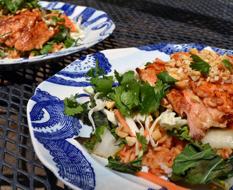 Asian Salmon with Grilled Bok Choy and Spicy Rice