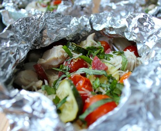 Campfire Chicken Packets with Zucchini, Corn and Cherry Tomatoes