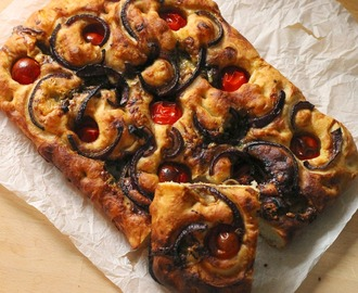 Tomato, Red Onion and Blue Cheese Focaccia