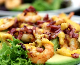 Salade met scampi's en mangodressing (no carbs)