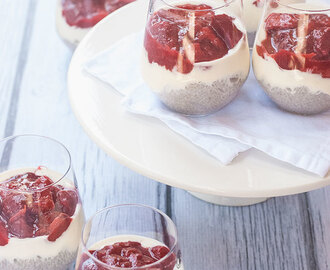 Chia Puddings w/ Strawberry & Rhubarb Compote