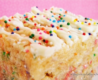 Cake Batter Rice Krispie Treats - The Ultimate Thick and Chewy Cake Batter Treat