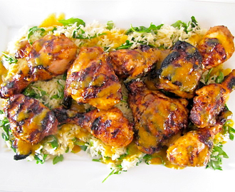 Grilled Red Chile-Buttermilk Brined Chicken w/ Mango Honey Glaze