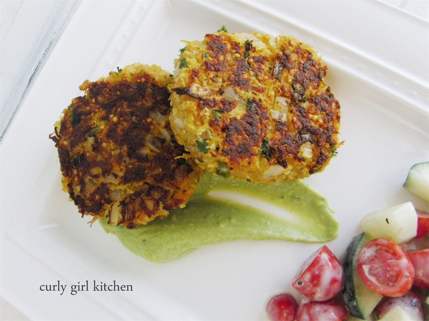 Crab Quinoa Cakes with Avocado Cream
