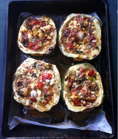 baked courgettes with feta, tomato, mint & marjoram