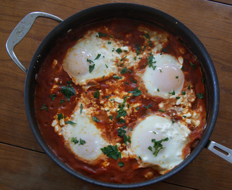 Bulgarian Eggs Baked in Spicy Tomato Sauce With Feta
