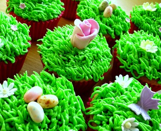 Easter egg hunt cupcakes featuring Cadbury's Creme Eggs!