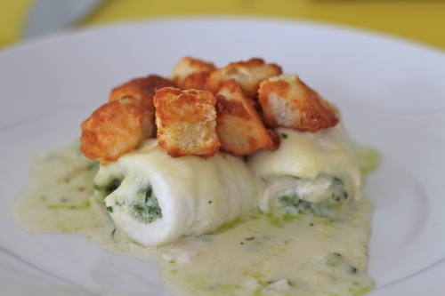 Rolled Fillets of Plaice,Vermouth Mornay Sauce, Souffle Croutons