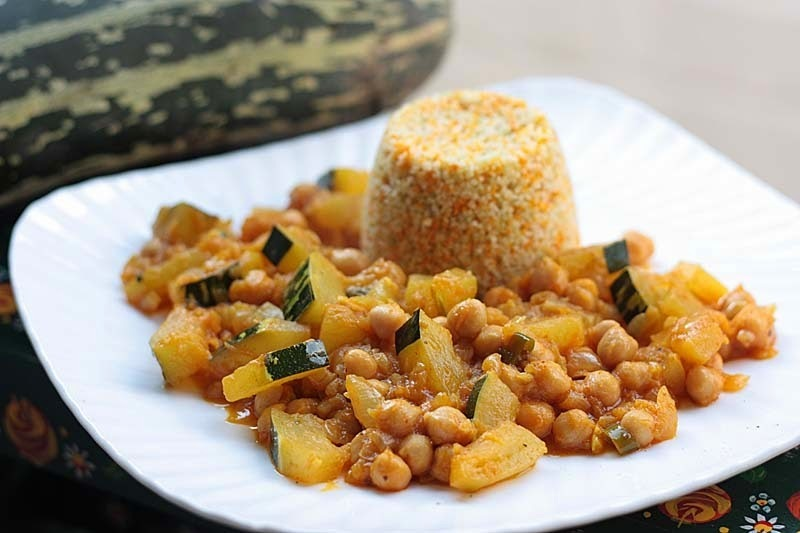 Vegan Marrow Curry served with Tricolour Couscous