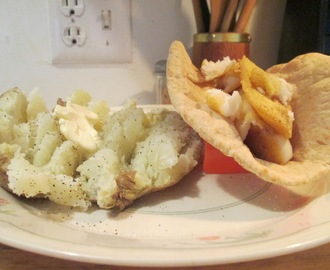 Wrapped Pita Bread Seasoned Tilapia w/  Baked Potato