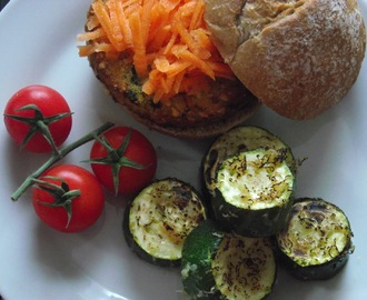 Brunch: Nut Cutlet & Carrot filled Rye Roll with Oven Roasted Vegan Parmesan Courgettes