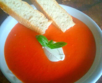 Tomato soup with Creme Fraiche and Basil