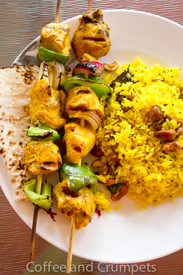 Chicken Kebabs and Lemon Rice