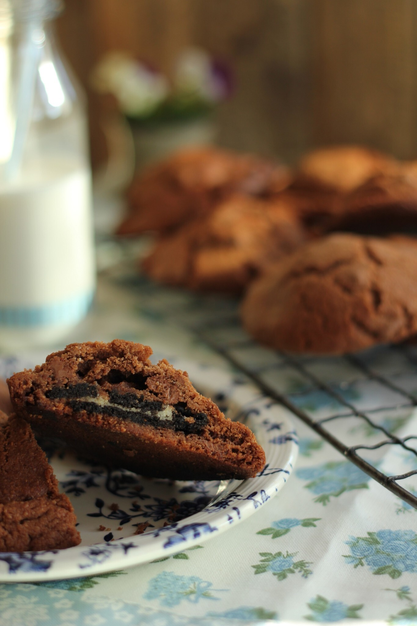 Double Chocolate Oreo Stuffed Cookies