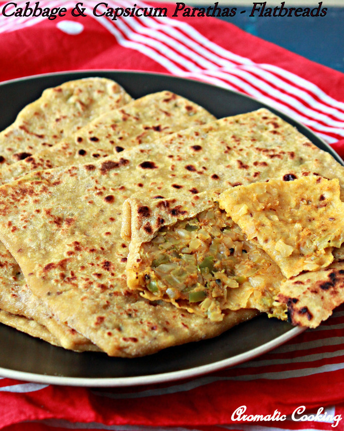 Cabbage And Capsicum Parathas/ Stuffed Flatbreads