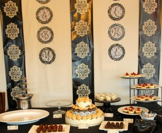 Black and Cream Damask Dessert Shower
