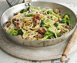 Sausage & broccoli carbonara recipe | BBC Good Food